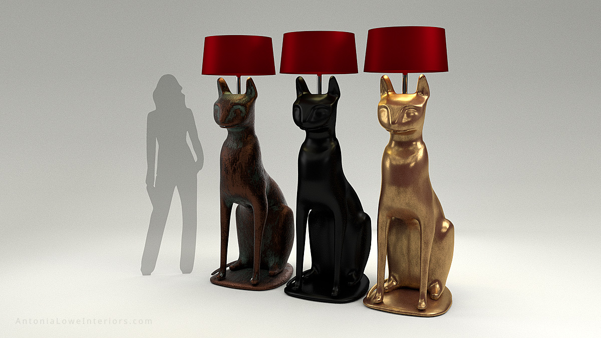 7 Foot Cat Lamps with an Egyptian influence in copper, black and gold with luxurious red light shades