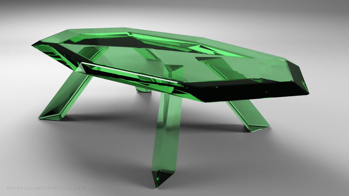 Beautiful emerald crystal table is a glass faceted table that looks like emerald green crystal