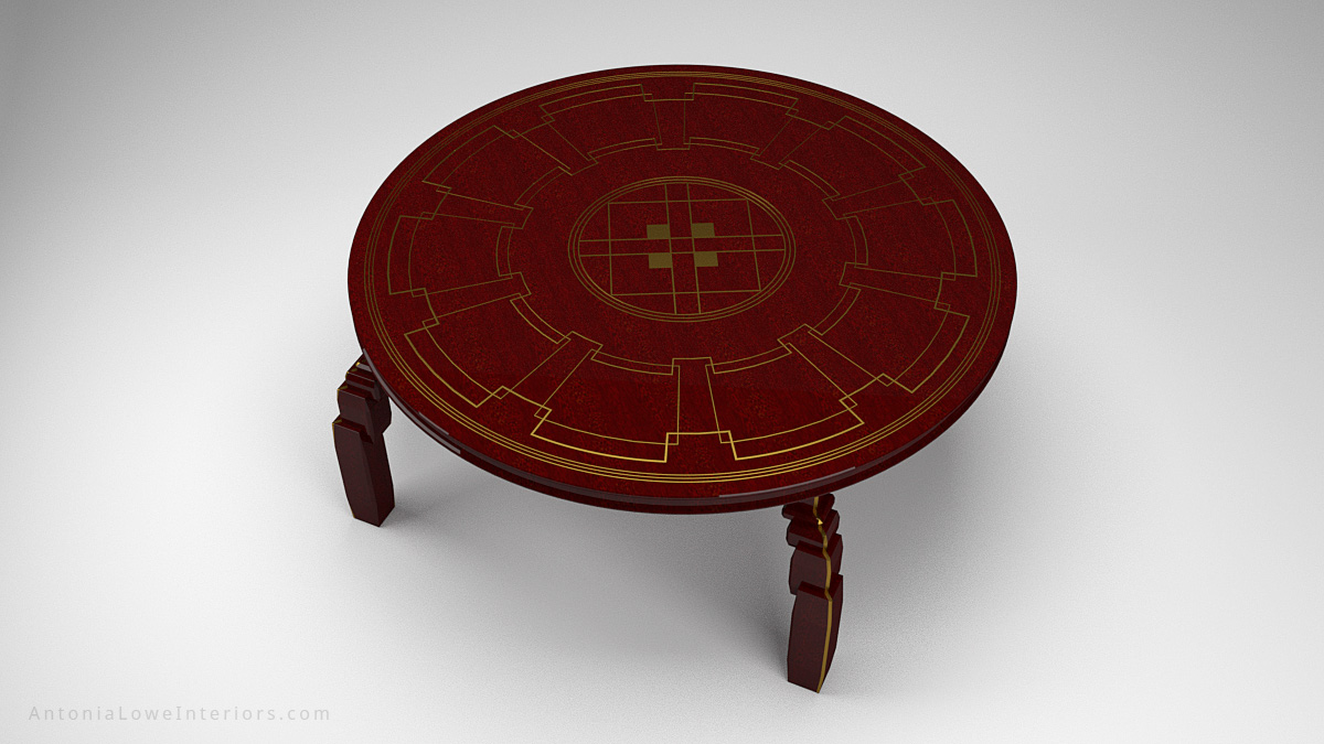 Top View Art Deco Inspired Red Round Table made from beautifully varnished red wood with gold art deco inspired detailing on the table top and on the legs.