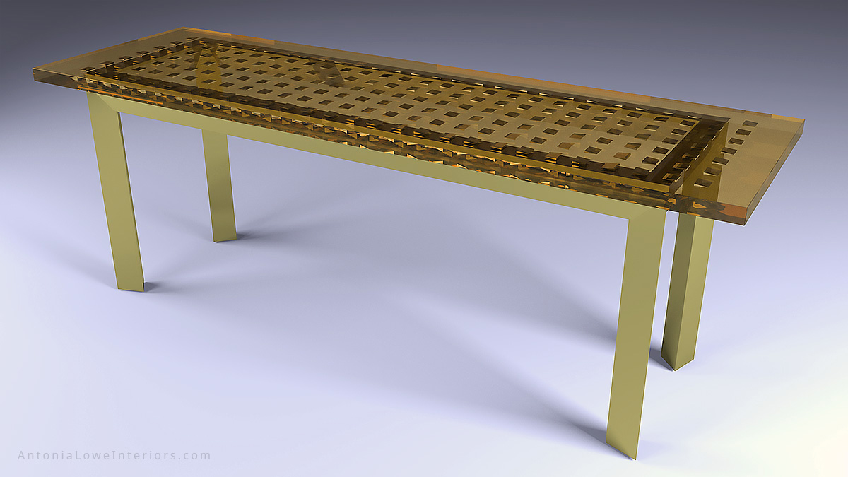 Full view of an amazing gold table made with gold tinted clear resin with solid gold wedges embedded inside supported by a metal frame base