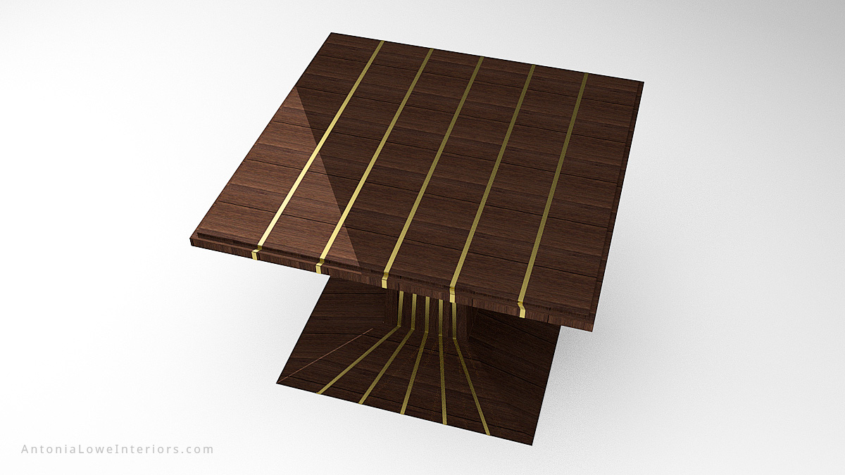 Top View Stylish Metal Stripped Table - dark wood table with shiny gold strips across the top and flowing down from the central support and onto the base