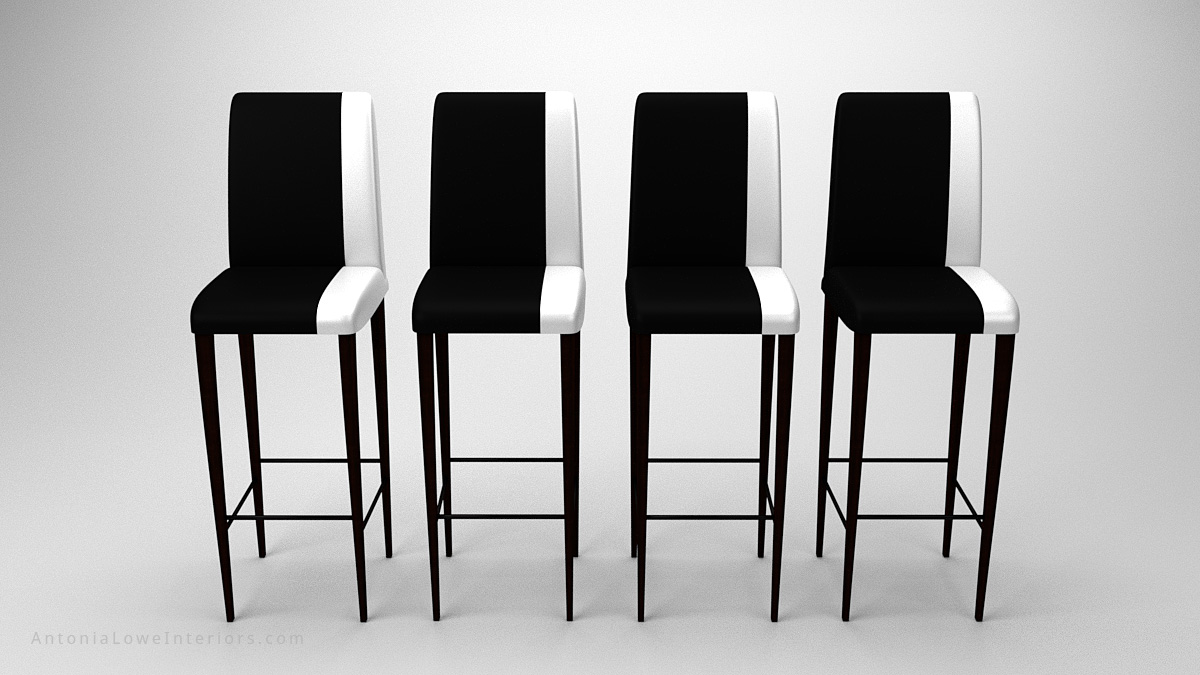Front view Contemporary Stylish Contrast Bar Stools black with a white strip down one side on the upholstery seat and back on dark wood legs