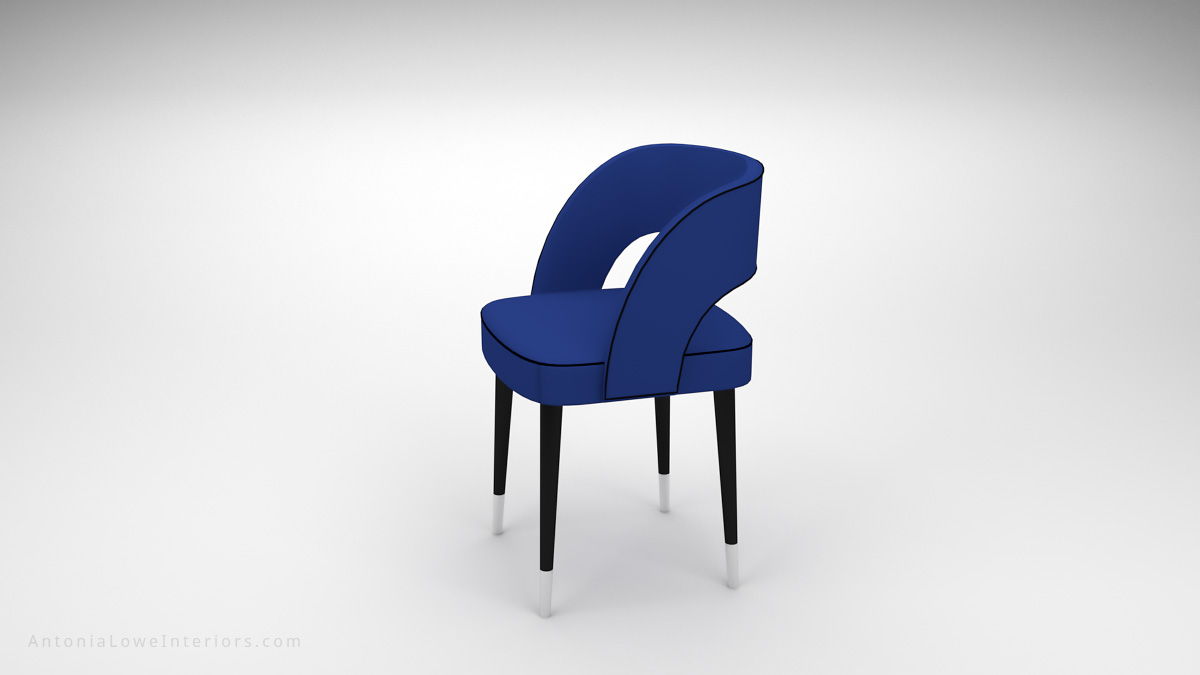 Side view Beautiful Curve Back Dining Chair Blue Leather with Black piping on chair, hole in back support, pinpoint black legs with white tips