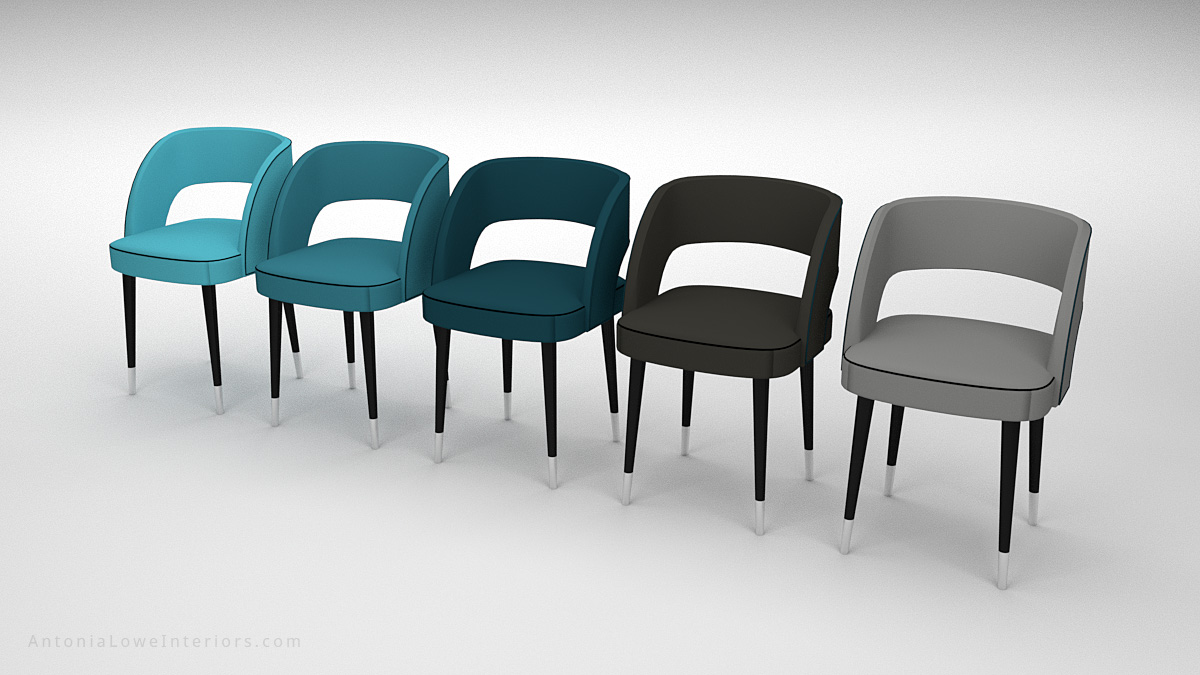 Beautiful Curve Back Dining Chair colour selection, grey, black, blue, teal coloured Leather with Black piping on chair, hole in back support, pinpoint black legs with white tips