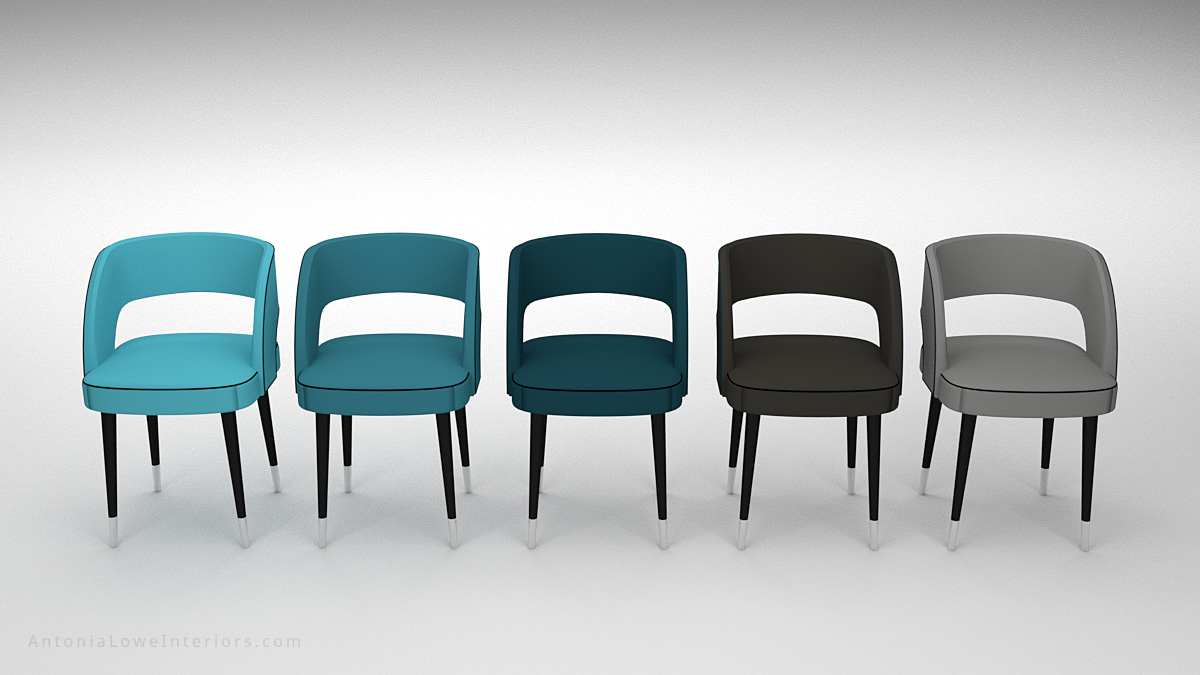 Front view Beautiful Curve Back Dining Chair colour selection, grey, black, blue, teal coloured Leather with Black piping on chair, hole in back support, pinpoint black legs with white tips