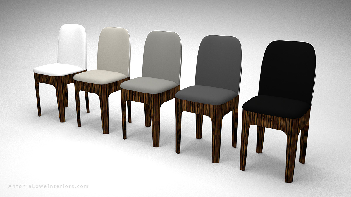 Stylish Tonal Formal Dining Chairs tonal colours black, dark grey, medium grey, light grey and white