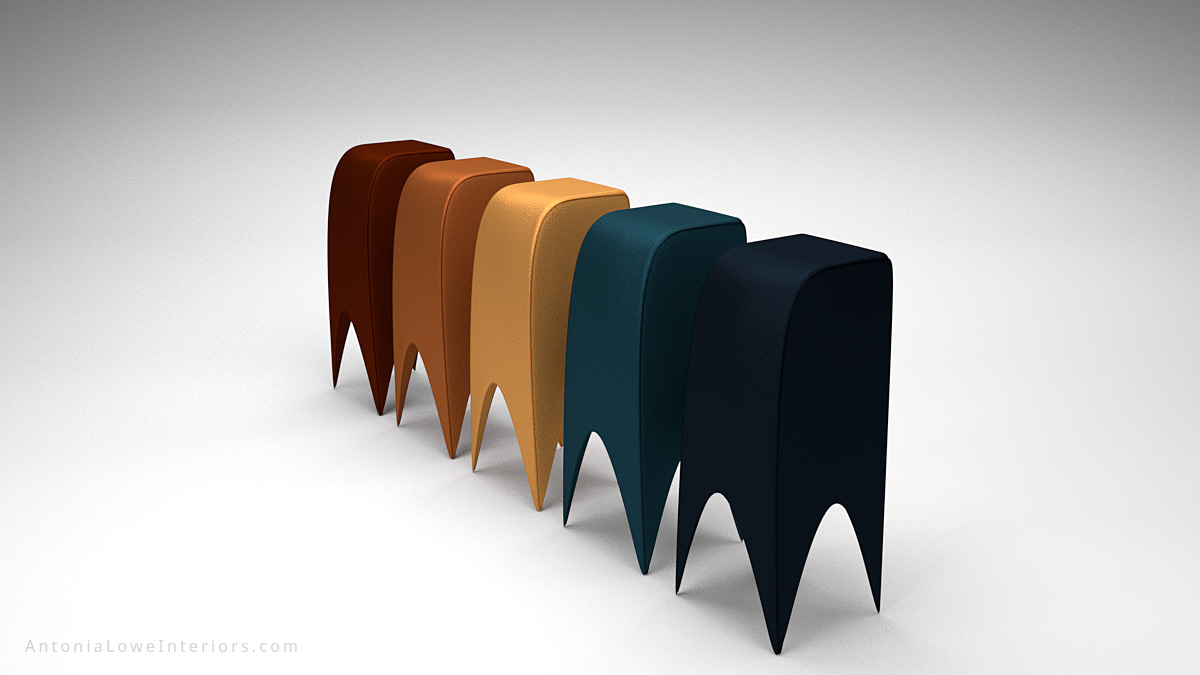 Modern Curved Leather Bar Stools with slightly glossy metallic finish and curved bottoms. In mocha, dark taupe, caramel, teal and navy black colours.