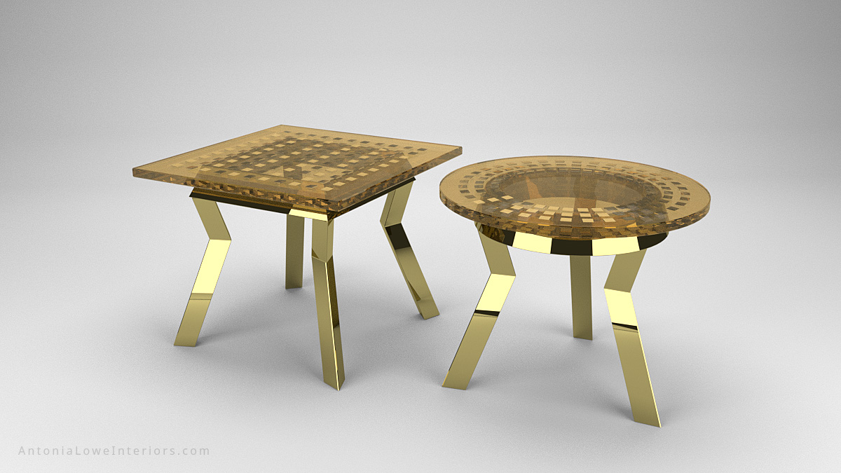 Round and Square Gold Metallic Wedge Encapsulated Cafe Tables with gold chromed legs with a gold tinted resin top with chromed gold wedges encapsulated inside and completely reflective.