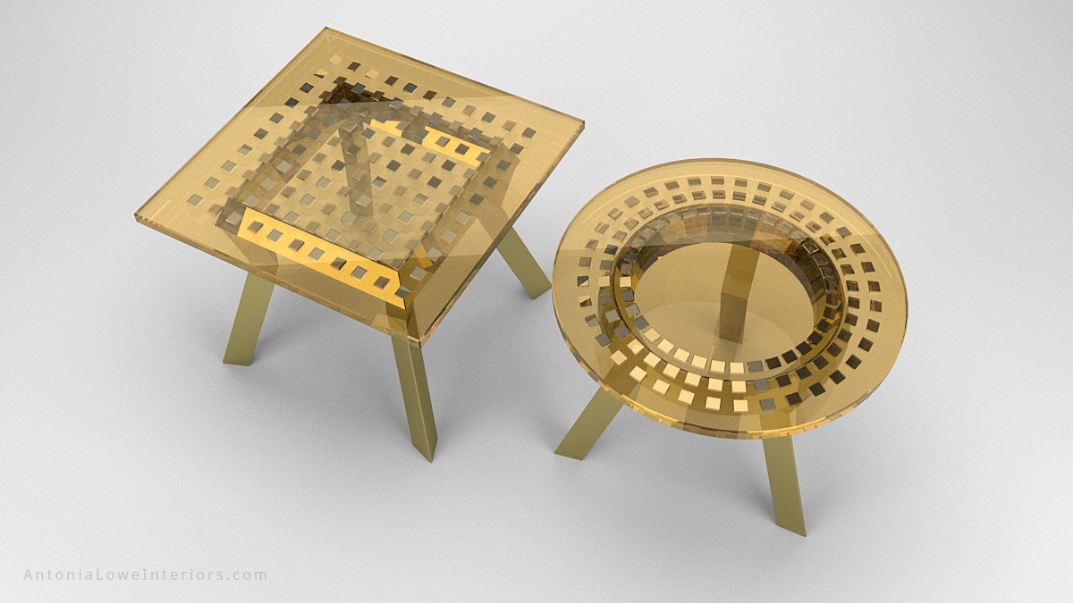 Top View round and square Gold Metallic Wedge Encapsulated Cafe Tables with gold chromed legs with a gold tinted resin top with chromed gold wedges encapsulated inside and completely reflective.
