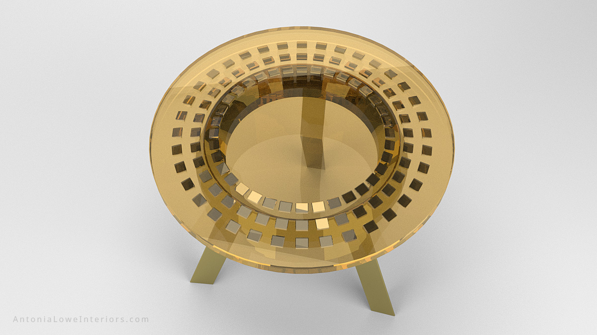 Top View Round Gold Metallic Wedge Encapsulated Cafe Tables with gold chromed legs with a gold tinted resin top with chromed gold wedges encapsulated inside and completely reflective.