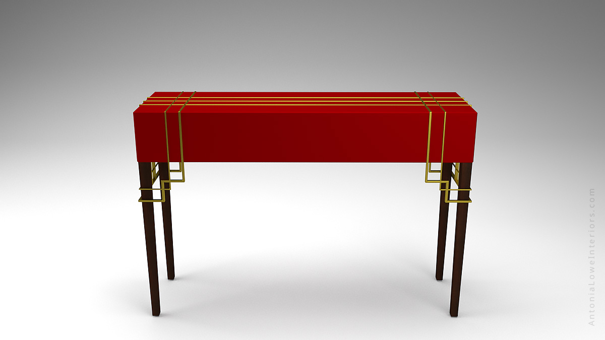 Front View Stunning Red Hallway Table With A Modern Art Deco Touch - beautiful deep crimson red top with elegant gold art deco strip detailing on top and around corners.