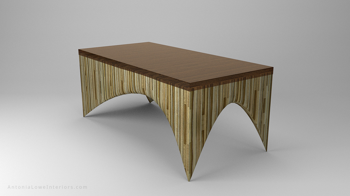 Perspective View Beautiful Bespoke Sculpted Laminated Table - sculpted laminated light and medium wood created wood striped effect with a beautiful bronze tinted resin top