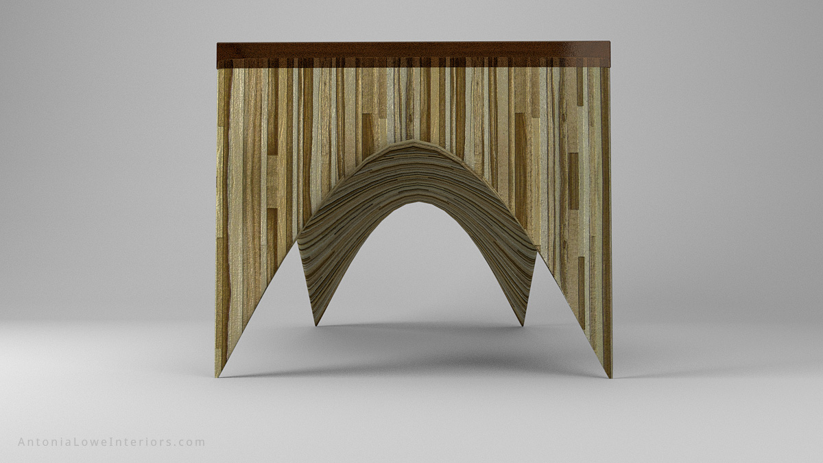 End View Beautiful Bespoke Sculpted Laminated Table - sculpted laminated light and medium wood created wood striped effect with a beautiful bronze tinted resin top