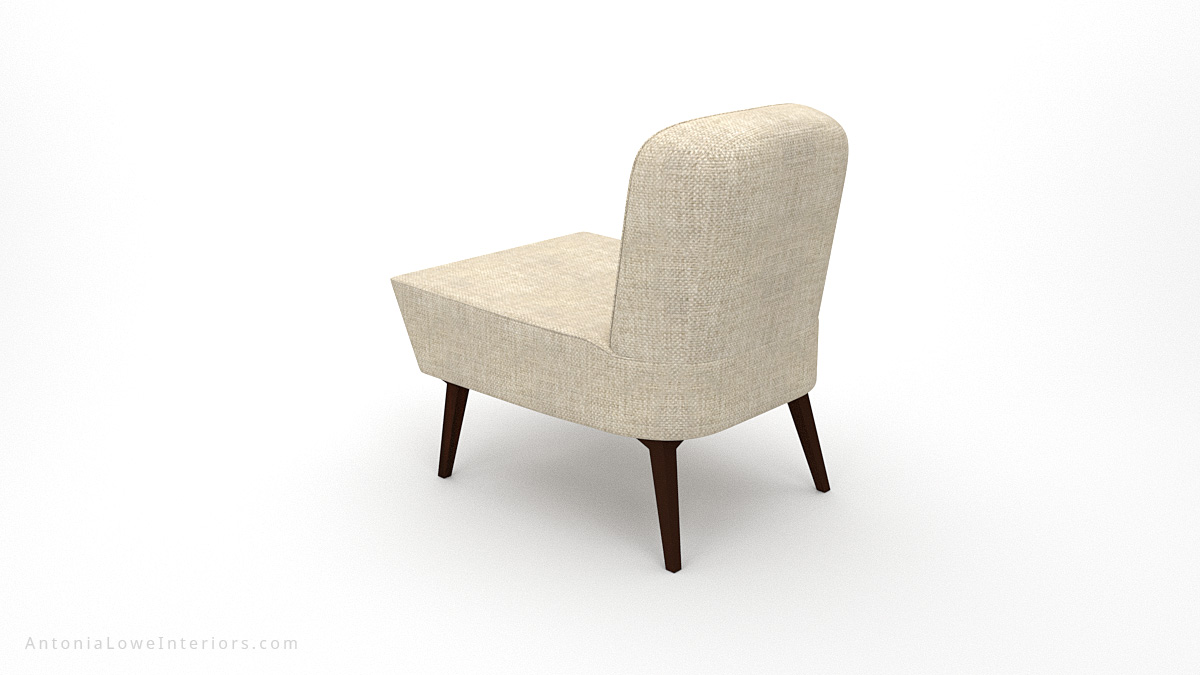 Back view Timeless Low Wedge Chair neutral linen cream colour fabric low level chair with wooden legs.