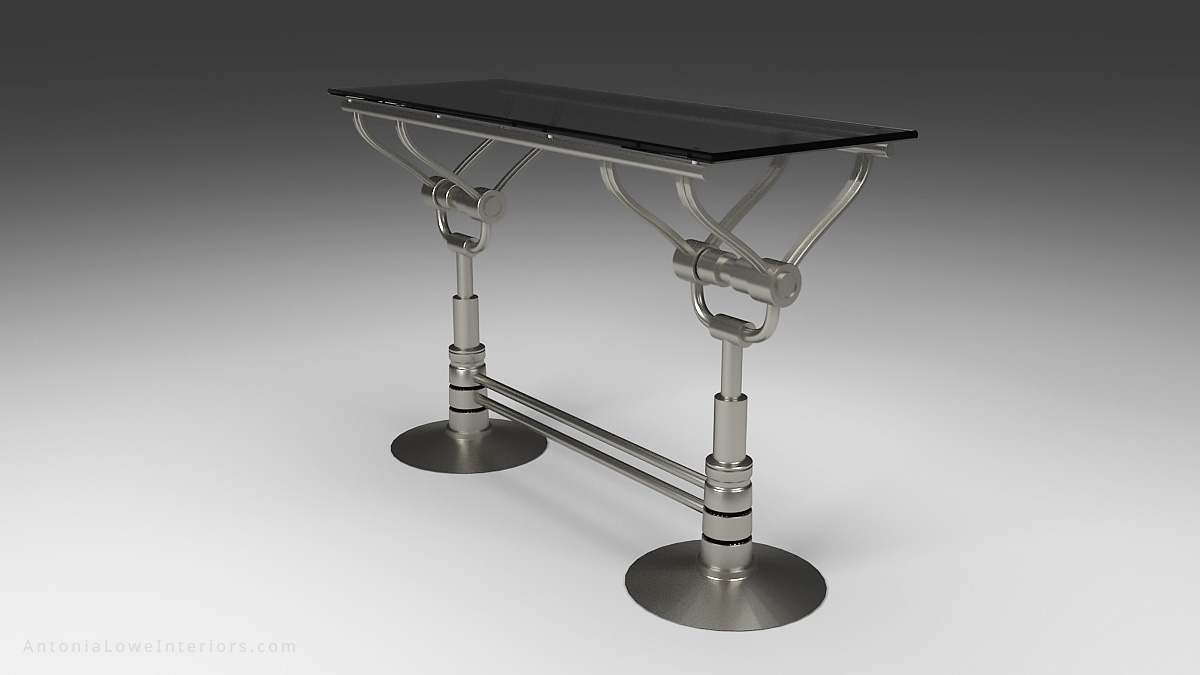 Diagonal View Mechanical Style Drinks Bar - Stainless Steel mechanical style base with silver tinted glass top.