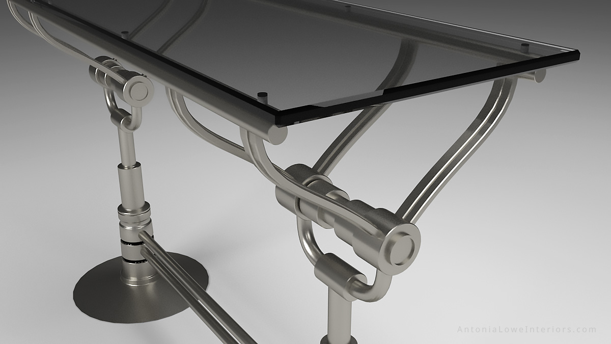 Close Up View Mechanical Style Drinks Bar - Stainless Steel mechanical style base with silver tinted glass top.