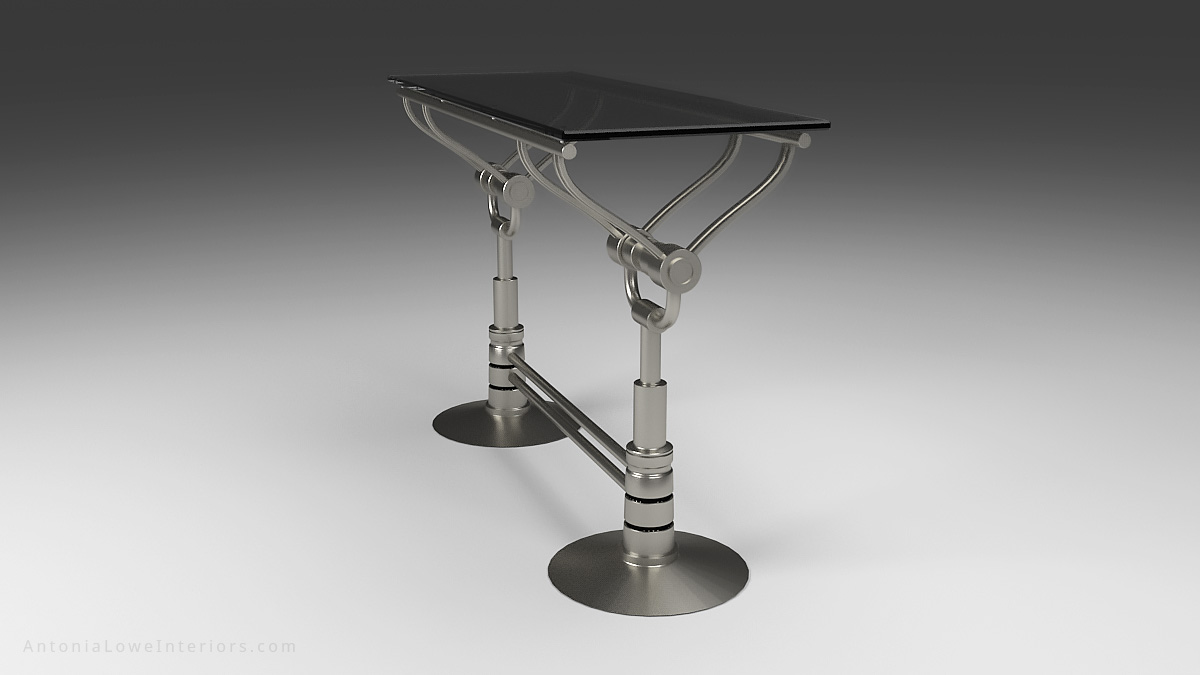 Side Diagonal Mechanical Style Drinks Bar - Stainless Steel mechanical style base with silver tinted glass top.