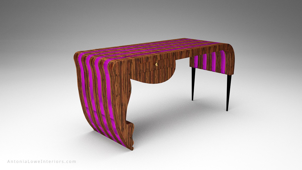 Trendy Neon Designers Desk - beautiful striped wooden desk with neon purple inserts in a stunning flowing shape