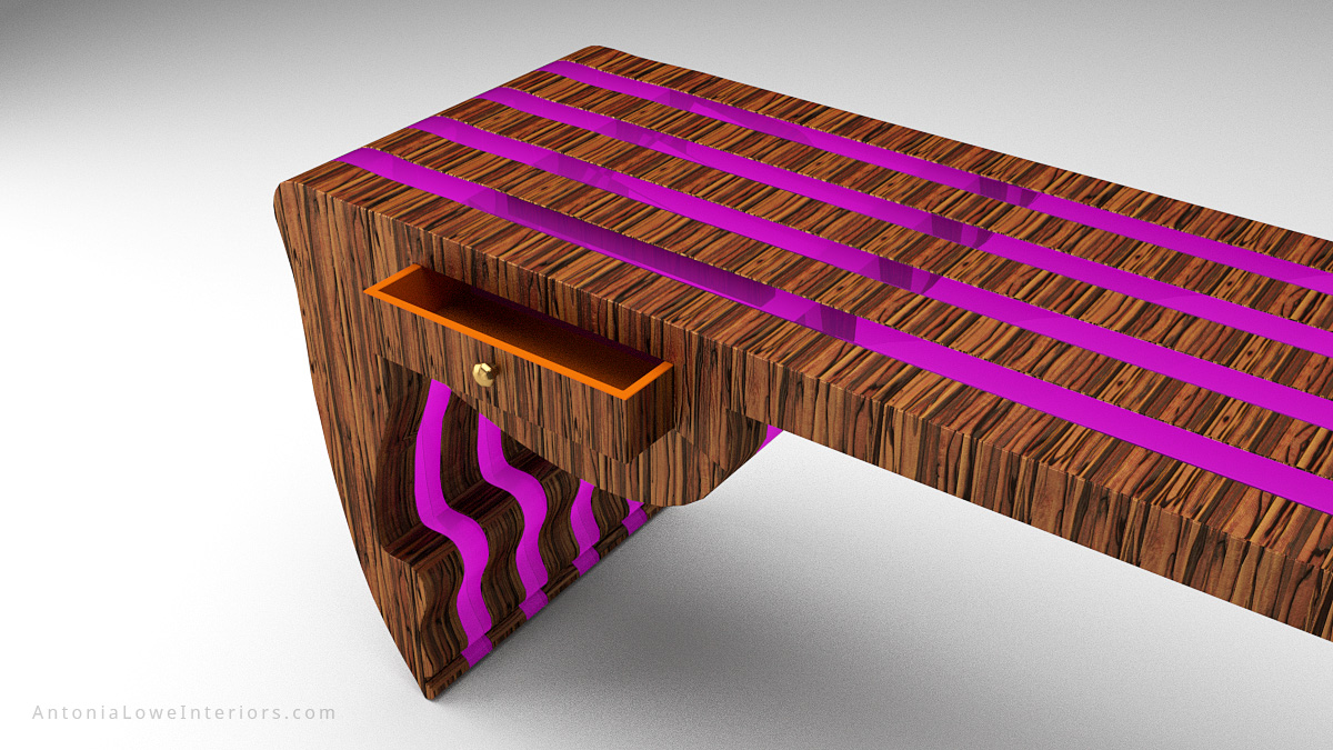 Close Up Trendy Neon Designers Desk - beautiful striped wooden desk with neon purple inserts in a stunning flowing shape