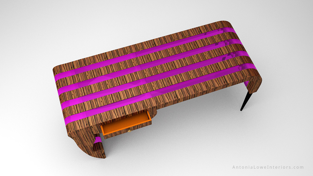 Top View Trendy Neon Designers Desk - beautiful striped wooden desk with neon purple inserts in a stunning flowing shape