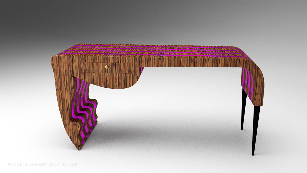 Front View Trendy Neon Designers Desk - beautiful striped wooden desk with neon purple inserts in a stunning flowing shape