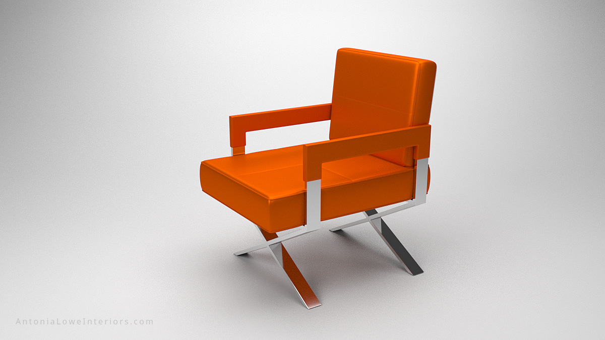 Luxurious Vibrant Orange Leather Chair upholstered square bright orange leather chair with arms on a crossed polished chrome legs