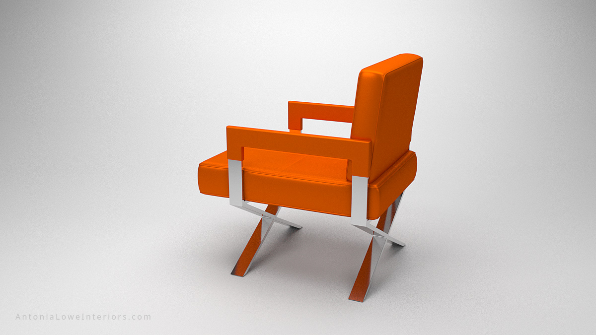 Side view Luxurious Vibrant Orange Leather Chair upholstered square bright orange leather chair with arms on a crossed polished chrome legs