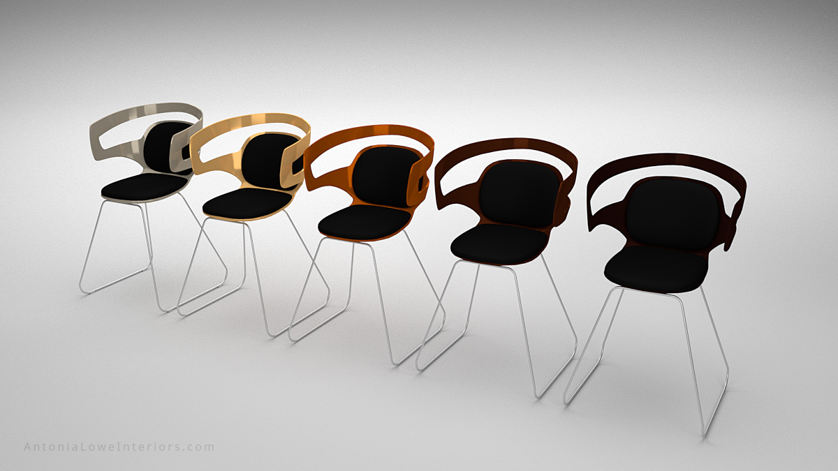 Modern Metallic Plastic Curve Chairs black with curved cut out back, copper, bronze, gold, silver and seat padding