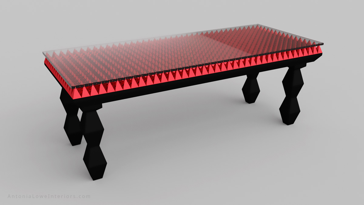 Bespoke Red Pyramid Table in black lacquer stained ebony wood with a table top of red chromed pyramids under a glass surface.