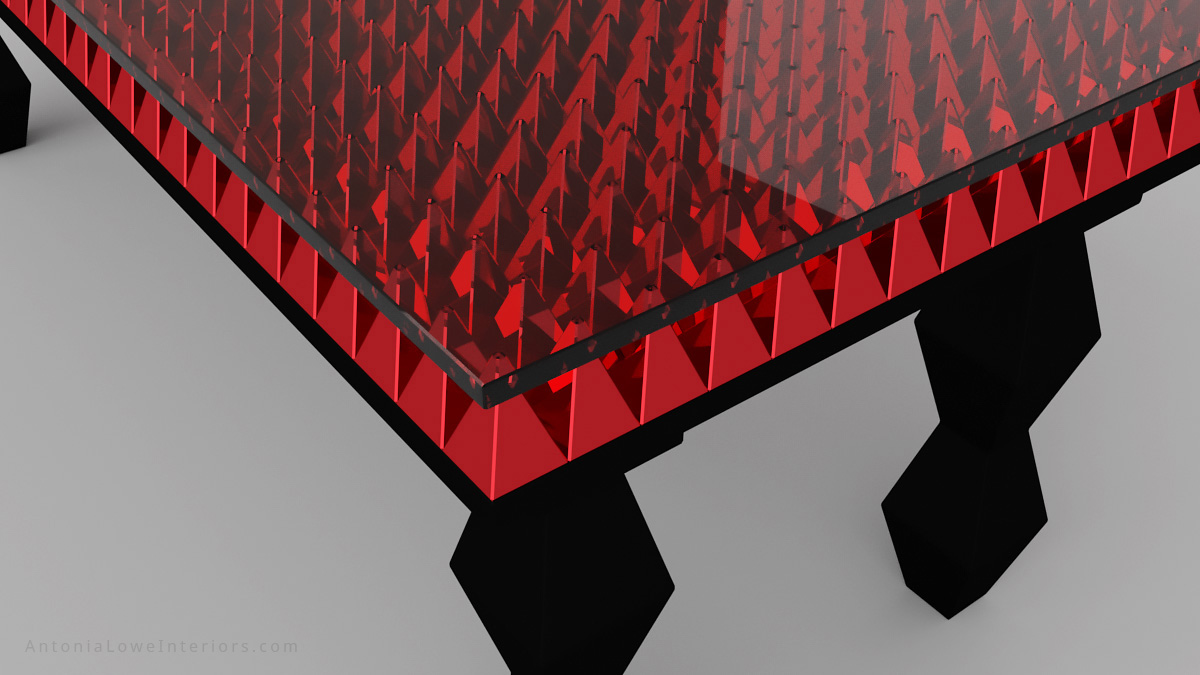 Close up of red chromed pyramids - Bespoke Red Pyramid Table in black lacquer stained ebony wood with a table top of red chromed pyramids under a glass surface.