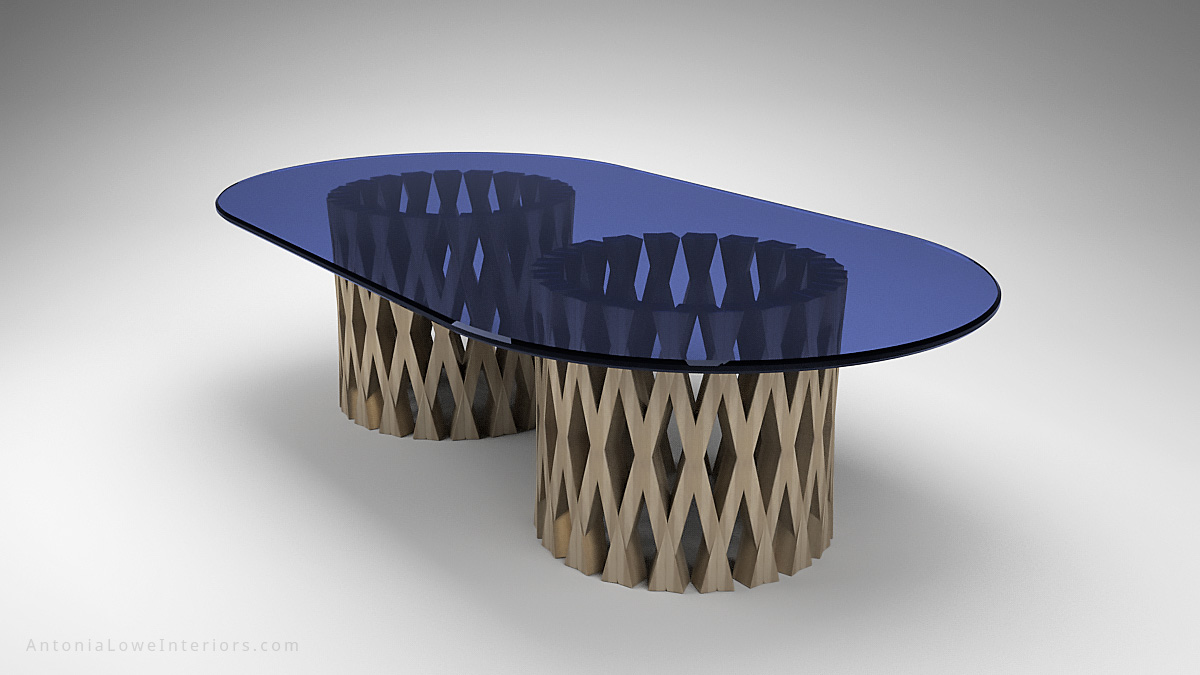 Diamond Lattice Sapphire Glass Top Table