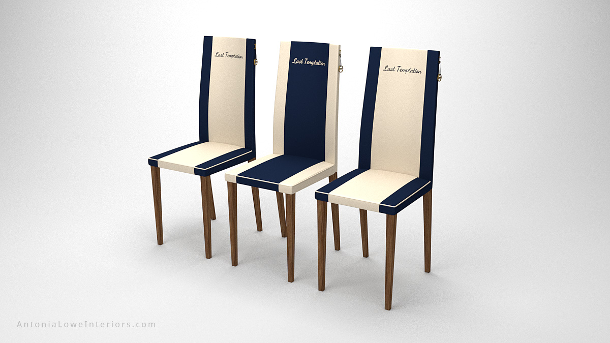Smart Sophisticated Dining Chairs white with blue stripes at each side on wooden legs with personalised yacht name on the chair back