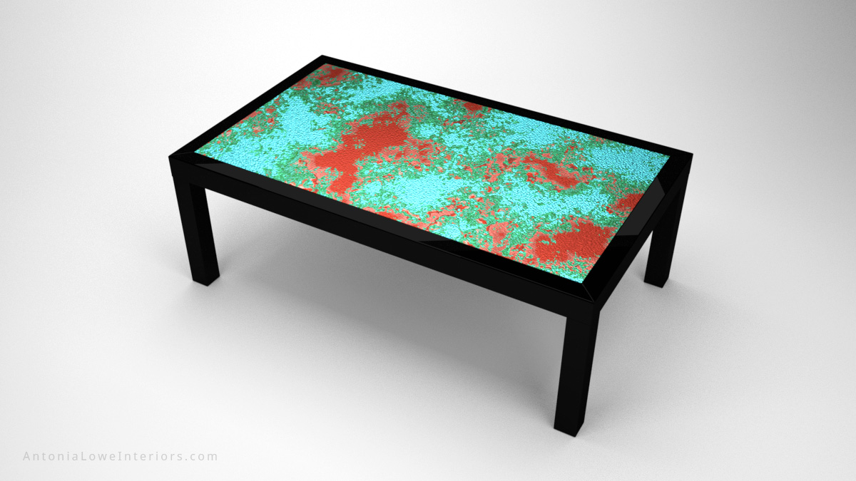 Dazzling Oxidised Copper Table dark black wood frame with a beautiful semi oxidised copper table top under glass