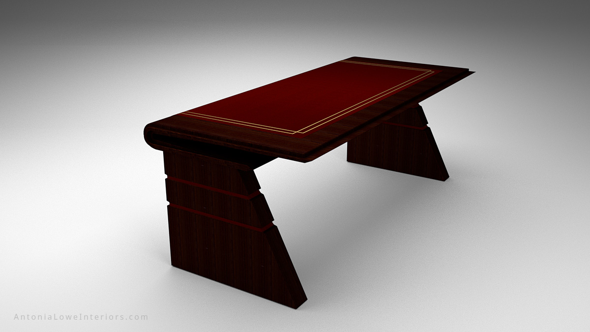 Sophisticated Curve Top Writers Desk - dark wood desk with deep red insert on the top and gold detailing around the edge. Curve front top like the spine of a book.