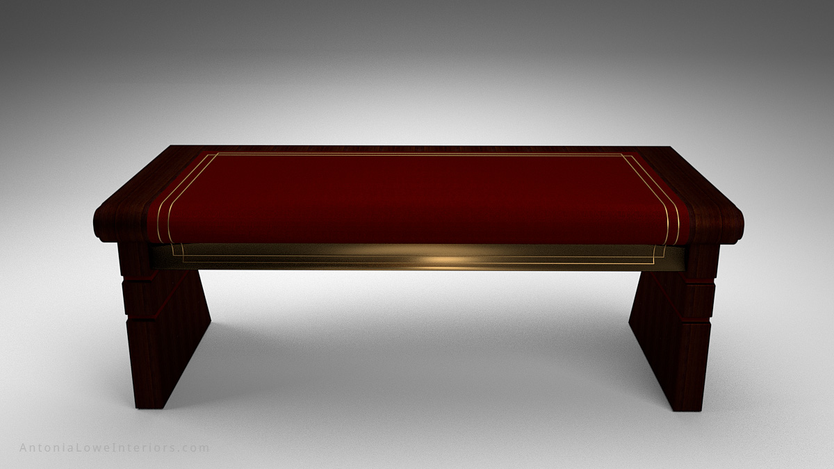 Front View Sophisticated Curve Top Writers Desk - dark wood desk with deep red insert on the top and gold detailing around the edge. Curve front top like the spine of a book.