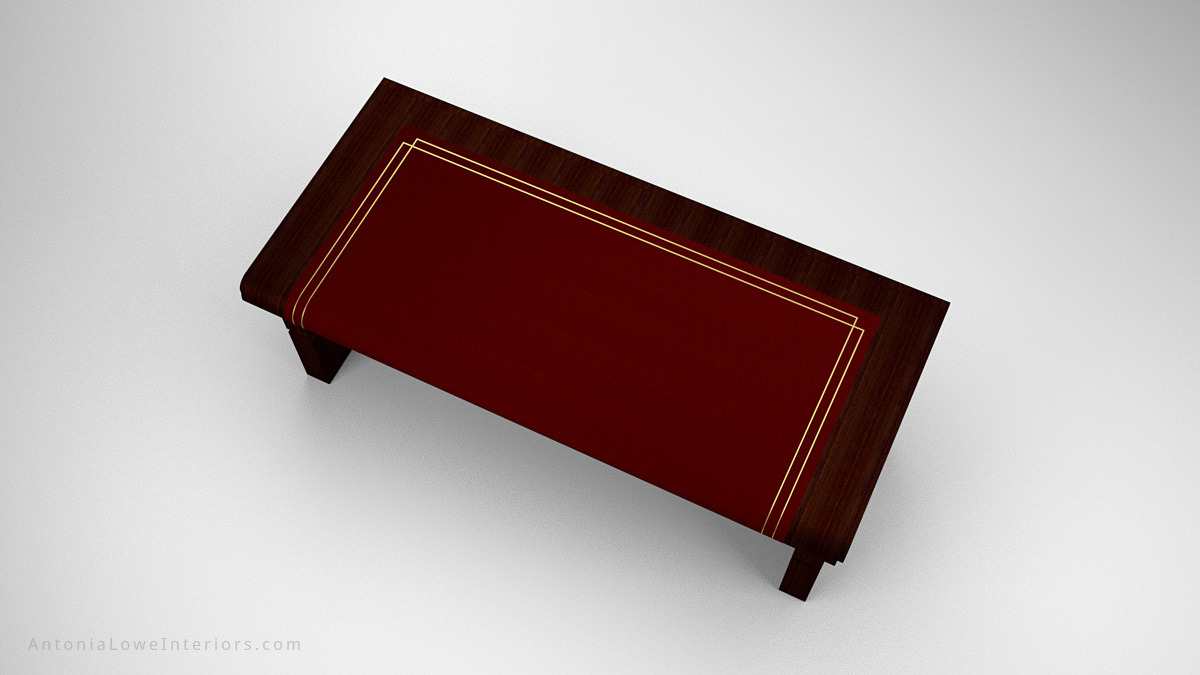 Top View Sophisticated Curve Top Writers Desk - dark wood desk with deep red insert on the top and gold detailing around the edge. Curve front top like the spine of a book.