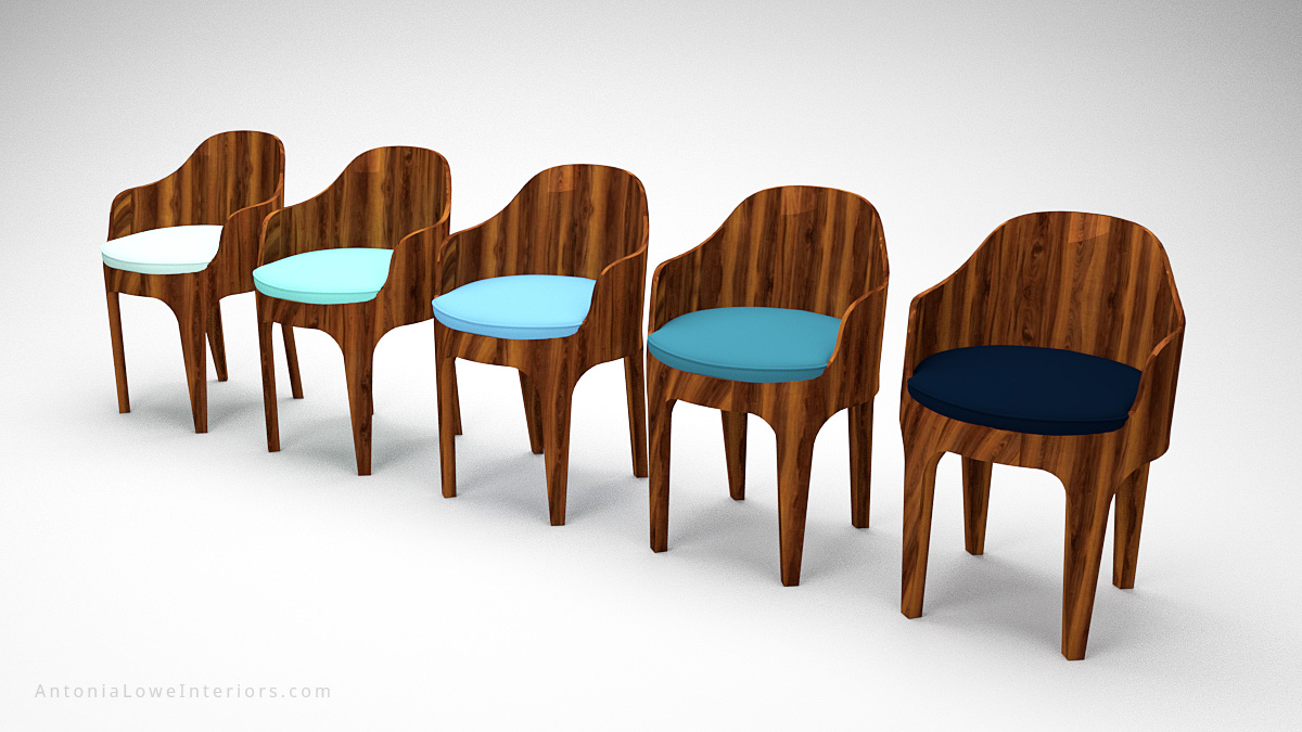 Classical Curved Blue Wooden Bucket Seats curved wooden high gloss chairs with seat cushions in different shades of blue