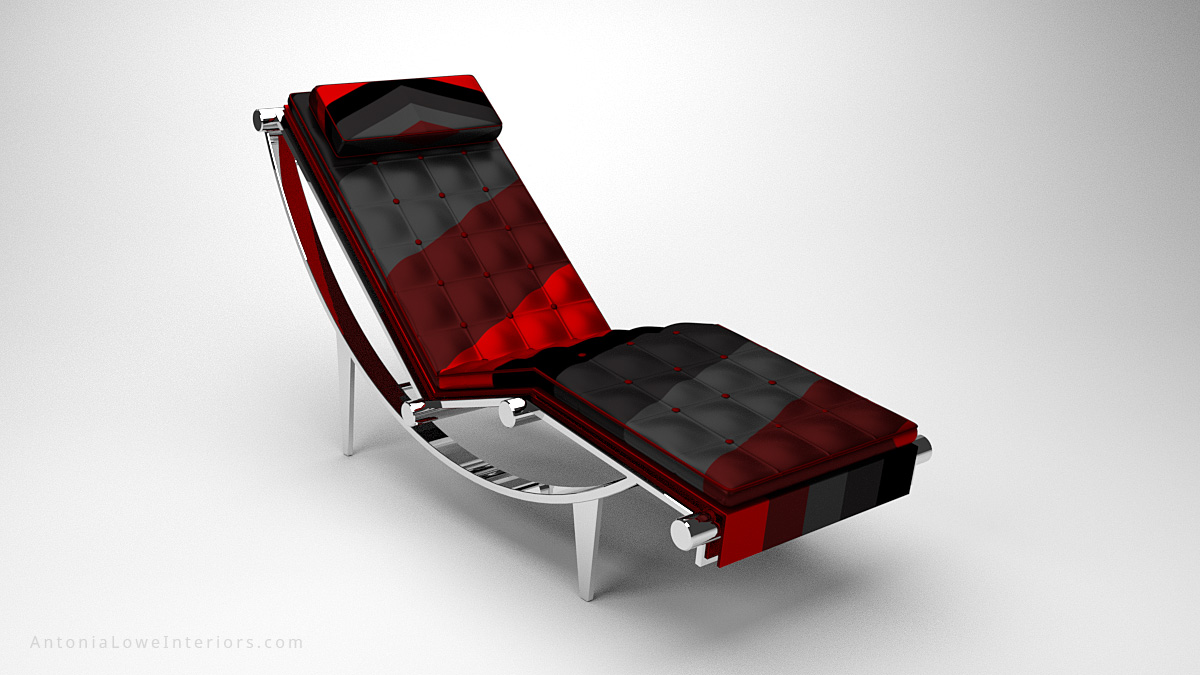 Luxurious Executive Recliner Lounging Chair Black and Red quilted leather with headrest on a curved polished chrome reclining base