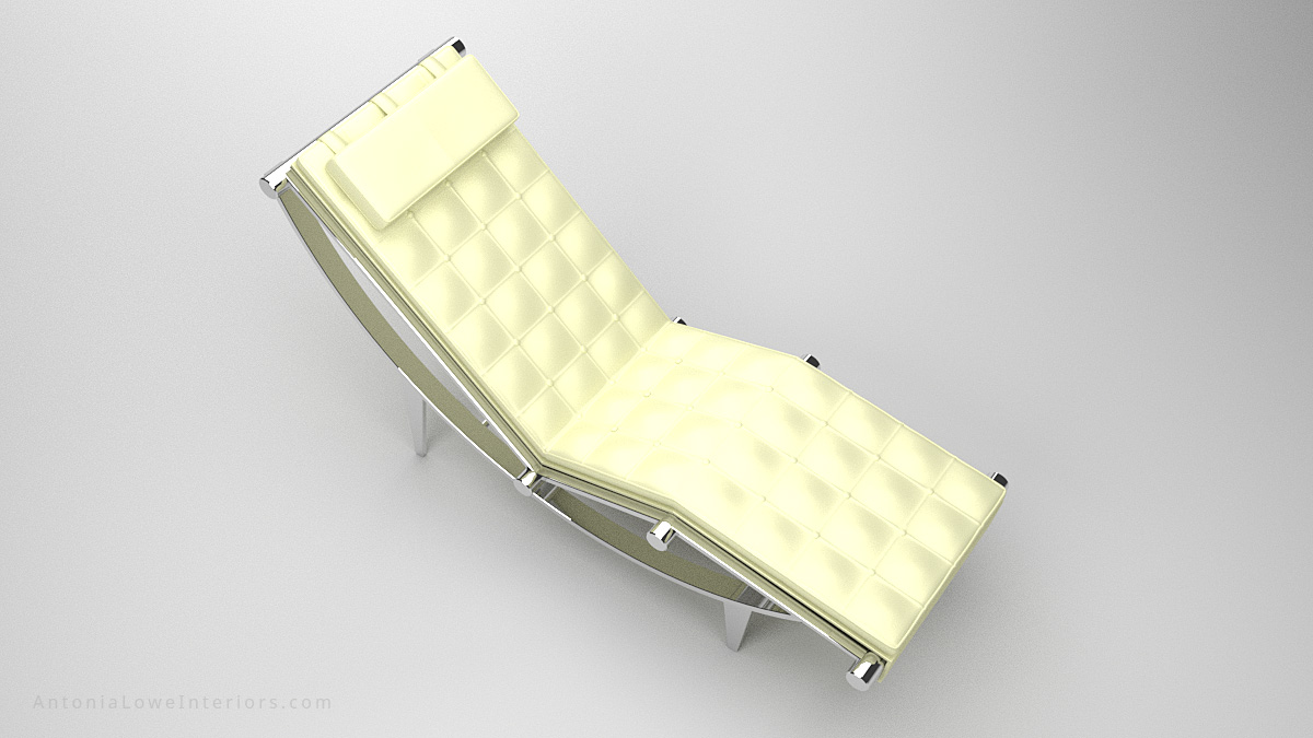 Luxurious Executive Recliner Lounging Chair White quilted leather with headrest on a curved polished chrome reclining base