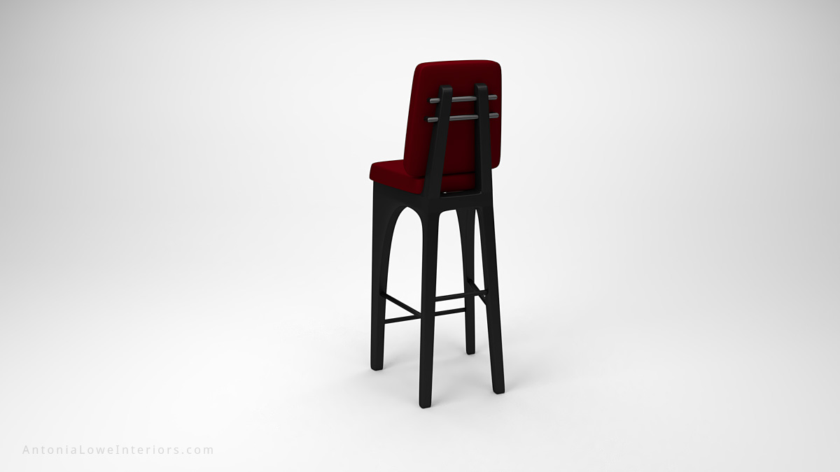 Stylish Red High Back Bar Stools red upholstered high back bar stool seat on a high black base with thicker black legs