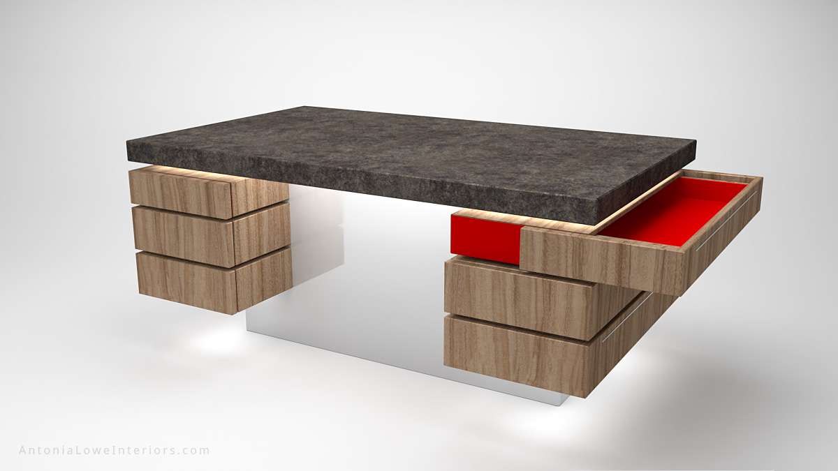 Contemporary Concrete Kitchen Island wooden storage at the sides on a white base with a concrete work top with open drawer showing crimson red interior
