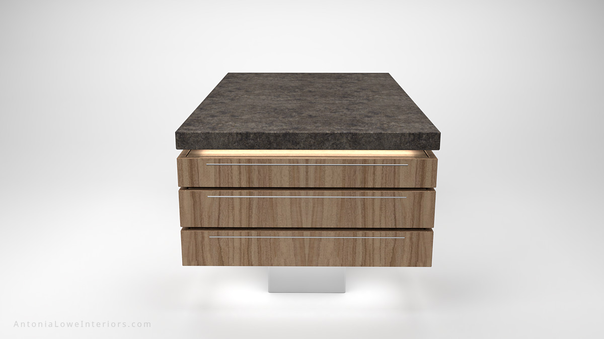 End view Contemporary Concrete Kitchen Island wooden storage at the sides on a white base with a concrete work top