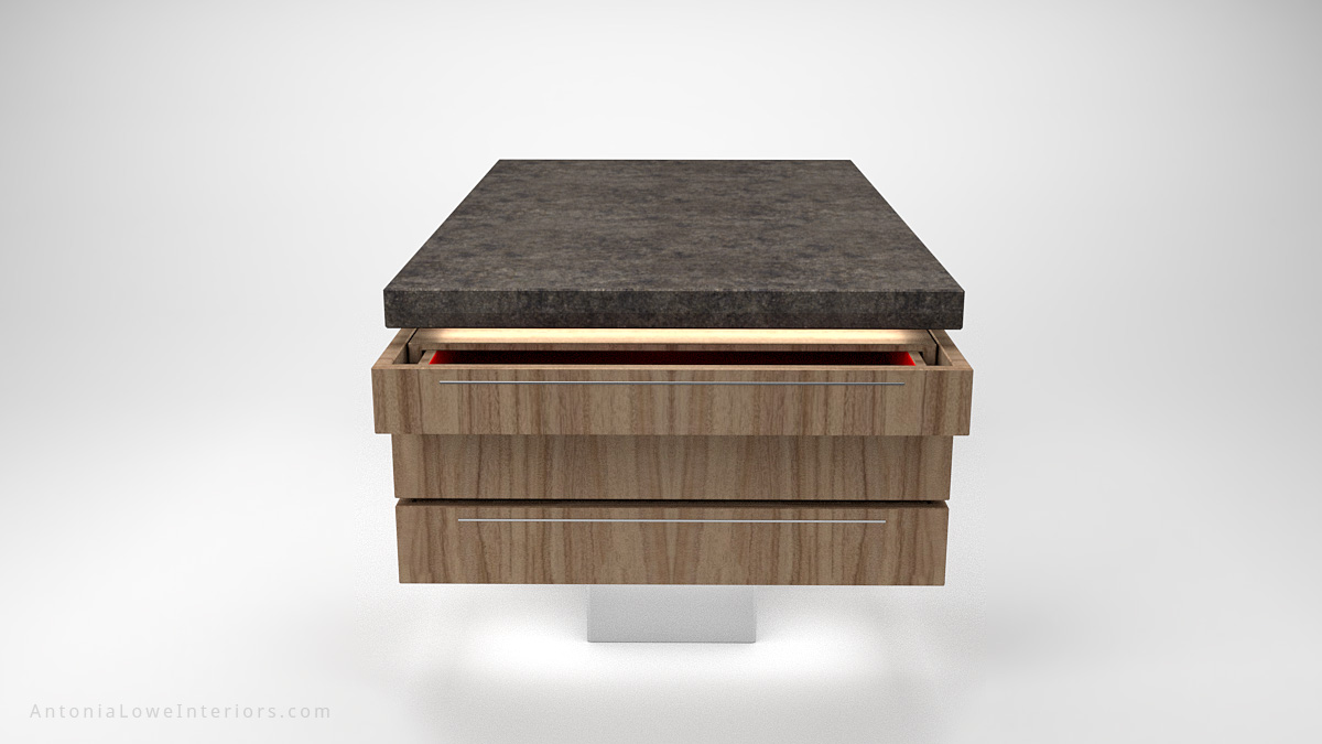 End view Contemporary Concrete Kitchen Island wooden storage at the sides on a white base with a concrete work top with open drawer showing crimson red interior