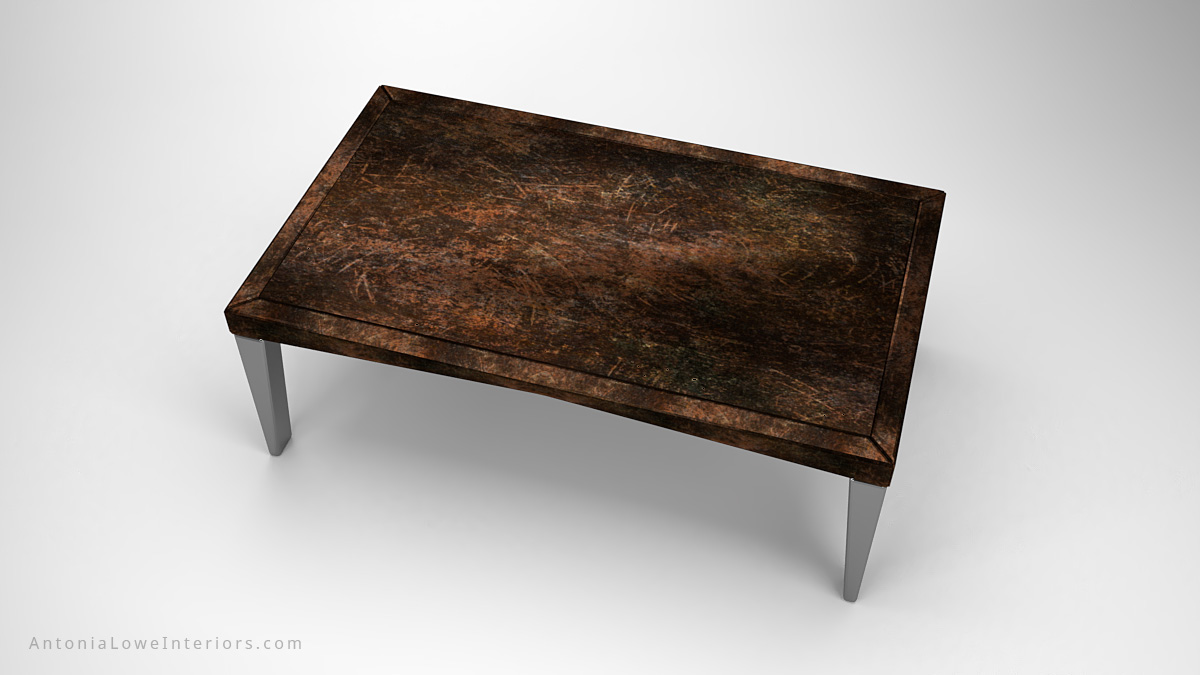 Top view Antique Style Acid Etched Board Room Table acid etched table top on silver metal legs