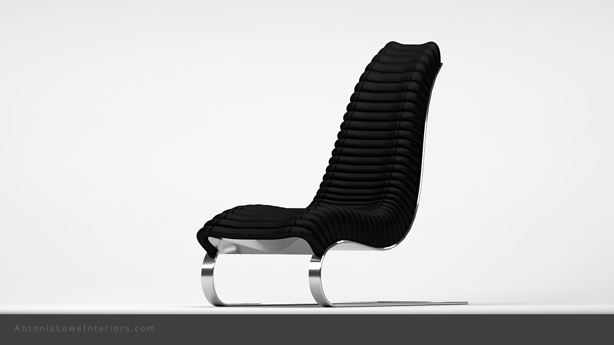 Trendy Curve Black Leather Lounging Chair curved black leather strip quilted seat high back on a curved polished chrome base