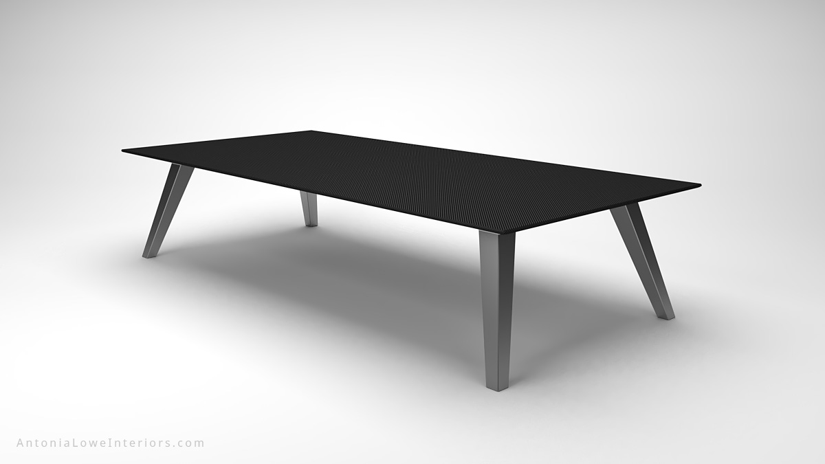 Dark Masculine Carbon Fibre Board Room Table thin carbon fibre table top on thick brushed stainless steel legs