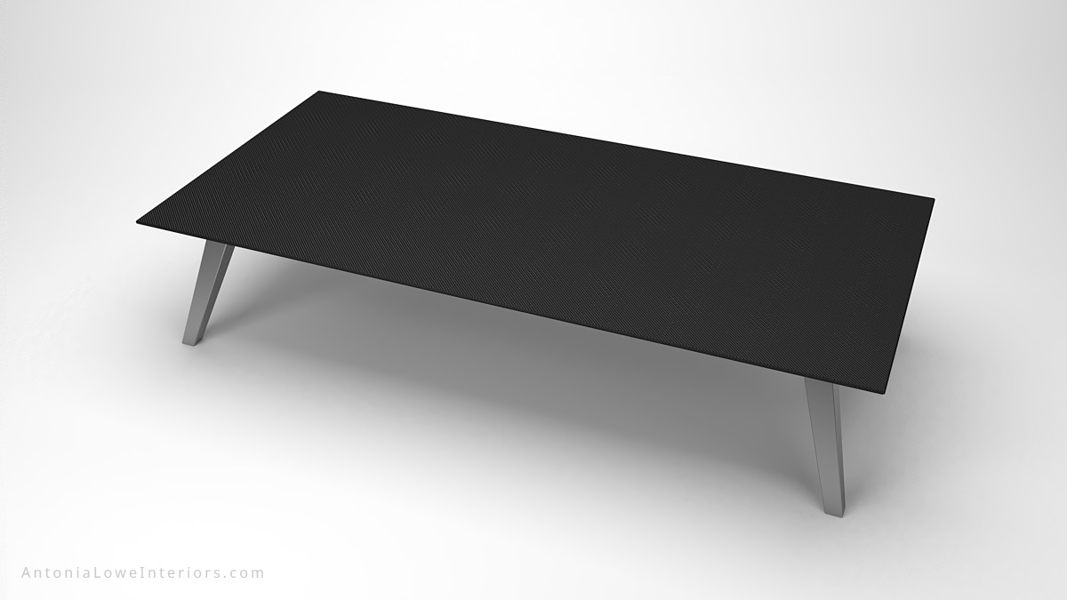 Top view Dark Masculine Carbon Fibre Board Room Table thin carbon fibre table top on thick brushed stainless steel legs