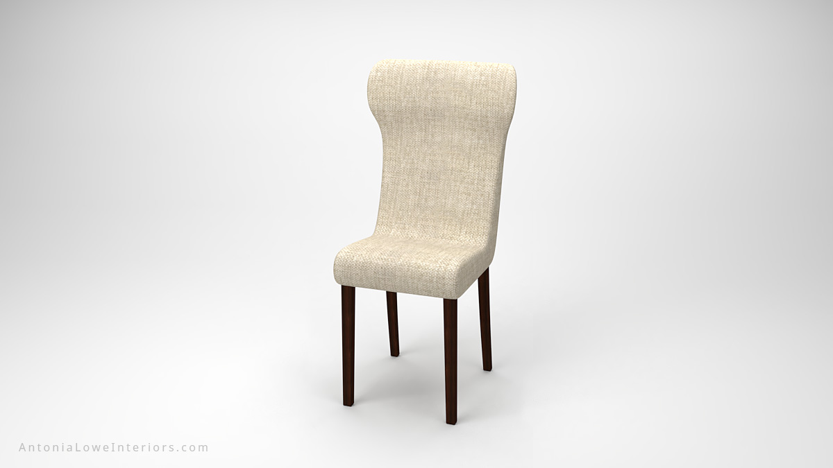 Elegant Comfortable Dining Chairs comfortable curve back white cream upholstered fabric curve back chairs on dark wooden legs