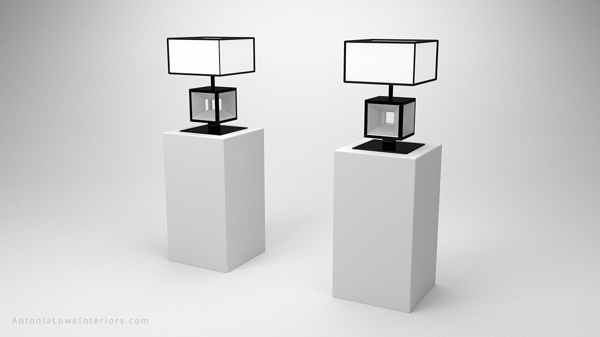 Elegant Modern Contrast Cube Lamp black square cube base with glass centre with a white cube lampshade with black edging trim