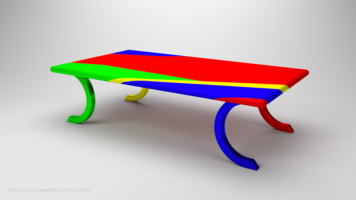 Funky Vibrant Multi Coloured Table colourful large table with curved legs